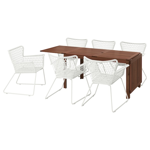 ÄPPLARÖ / HÖGSTEN table+6 chairs w armrests, outdoor brown stained/white