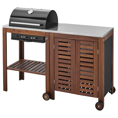 ÄPPLARÖ / KLASEN charcoal barbecue with cabinet brown stained/stainless steel colour 145 cm 58 cm 109 cm