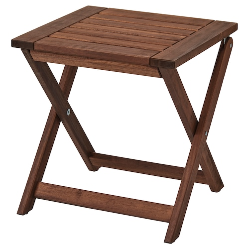 ÄPPLARÖ stool, outdoor foldable brown stained 110 kg 40 cm 38 cm 42 cm