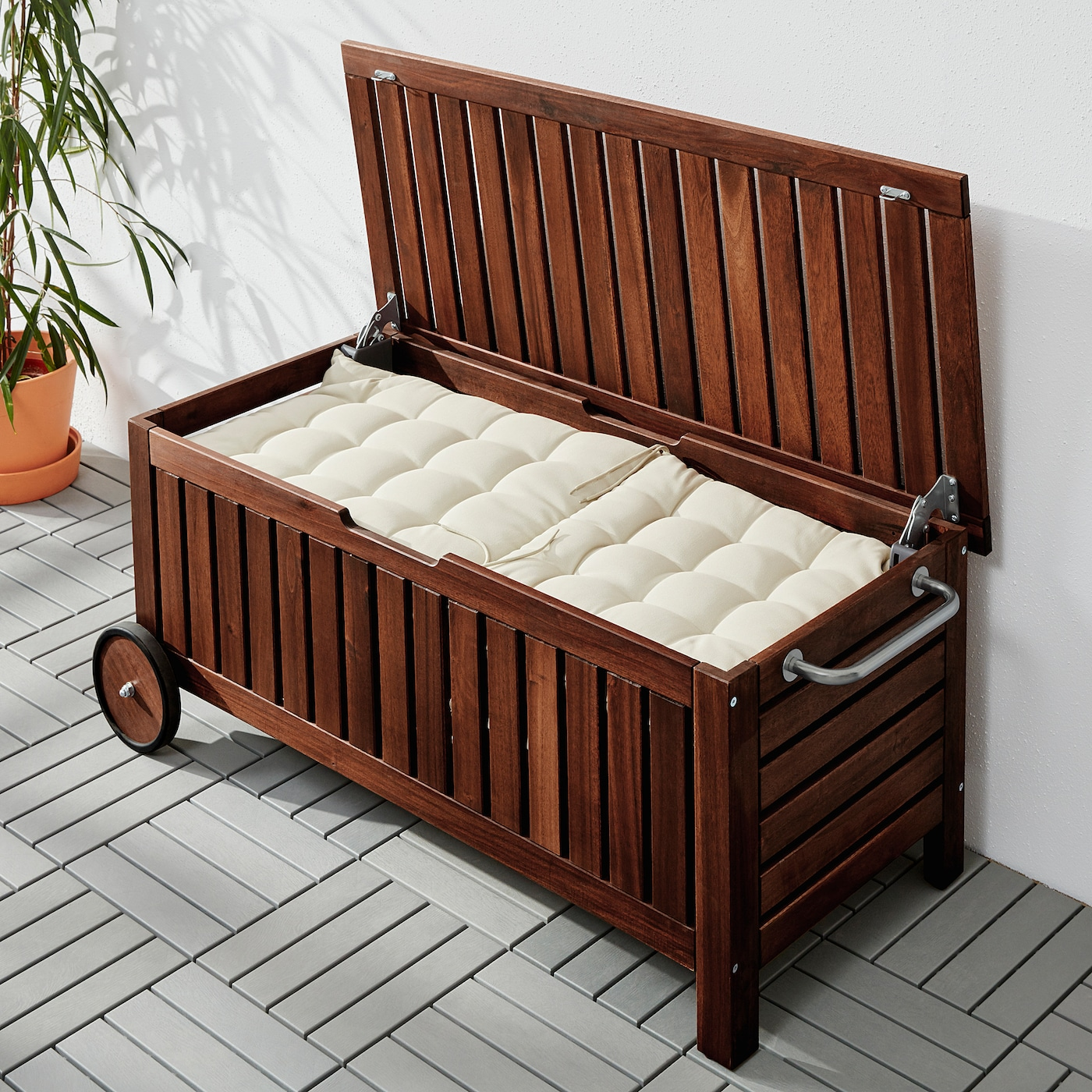 Storage Bench Outdoor Brown Stained