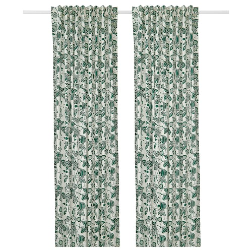 ALPKLÖVER curtains, 1 pair white/dark green 250 cm 145 cm 1.50 kg 3.63 m² 2 pieces