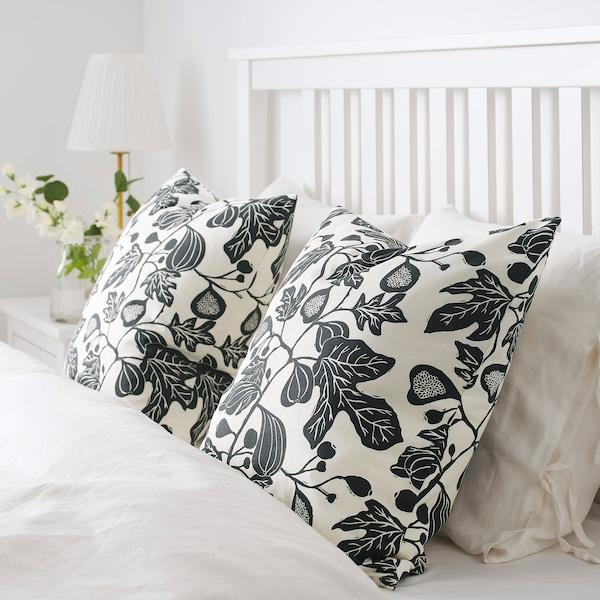ALPKLÖVER cushion cover natural/dark grey 50 cm 50 cm