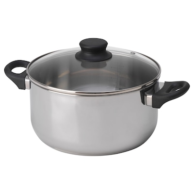 ANNONS Pot with lid, glass/stainless steel, 5 l