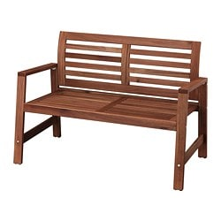ÄPPLARÖ bench with backrest, outdoor, brown brown stained