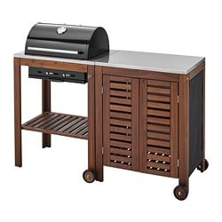 ÄPPLARÖ /  KLASEN charcoal barbecue with cabinet, brown stained, stainless steel colour