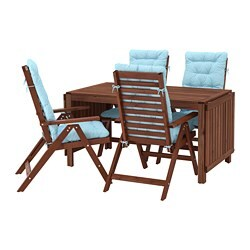 ÄPPLARÖ table+4 reclining chairs, outdoor, brown stained, Kuddarna light blue blue