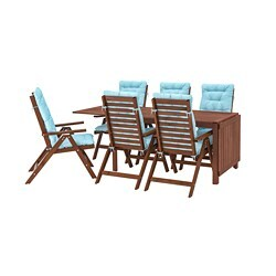 ÄPPLARÖ table+6 reclining chairs, outdoor, brown stained, Kuddarna light blue