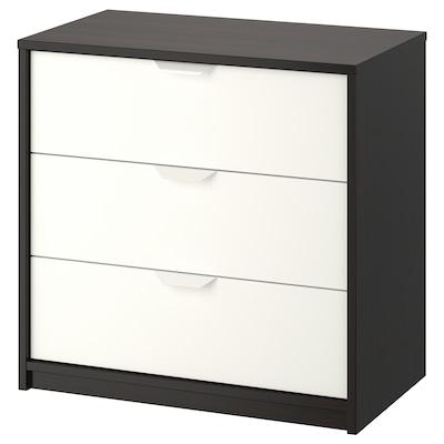 ASKVOLL Chest of 3 drawers, black-brown/white, 70x69 cm