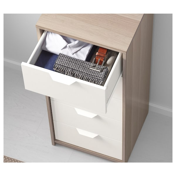 ASKVOLL Chest of 5 drawers, white stained oak effect/white, 45x109 cm