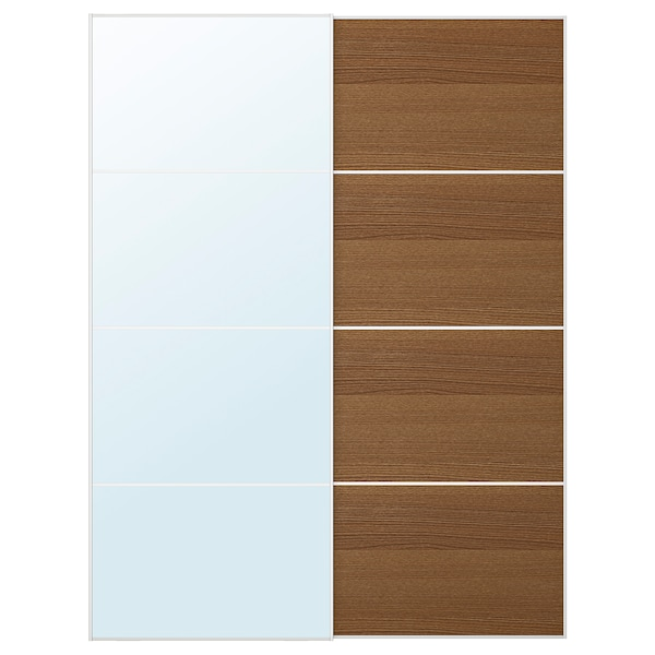 AULI / MEHAMN Pair of sliding doors, mirror glass/brown stained ash effect, 150x201 cm