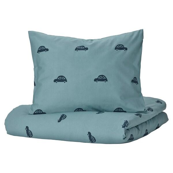 BARNDRÖM Duvet cover and pillowcase, car pattern/blue, 150x200/50x80 cm