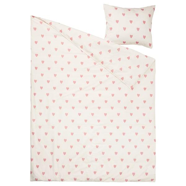BARNDRÖM Duvet cover and pillowcase, heart pattern white/pink, 150x200/50x80 cm
