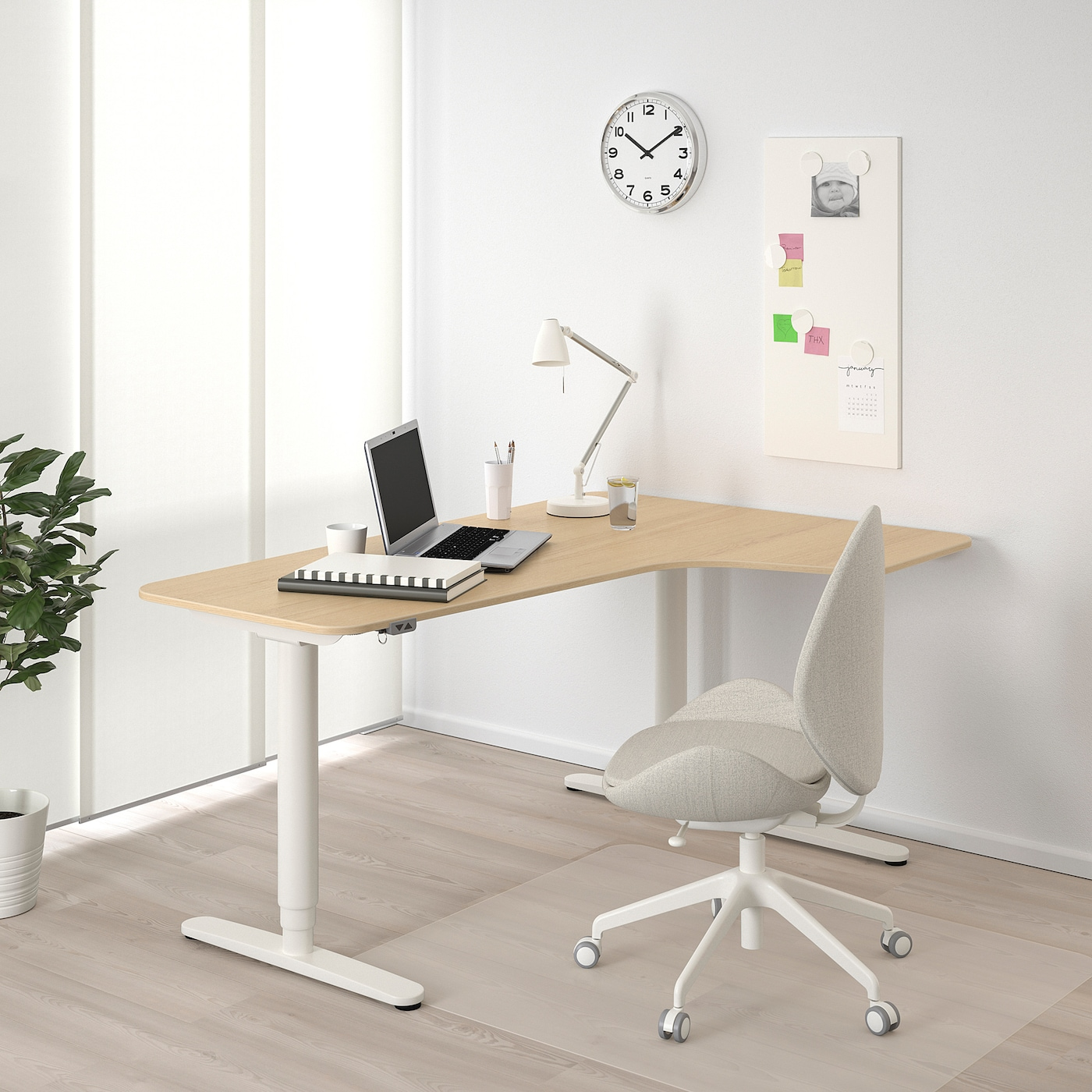 BEKANT Corner desk right sit/stand, white stained oak veneer white, 160x110 cm