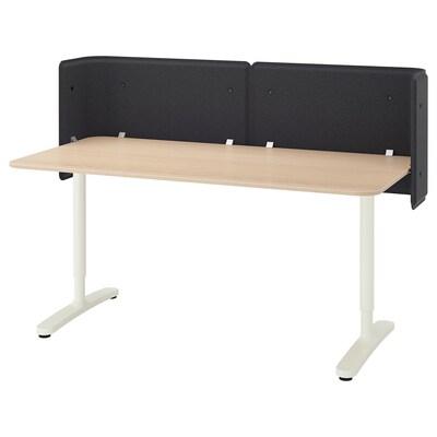 BEKANT Reception desk, white stained oak veneer/white, 160x80 55 cm