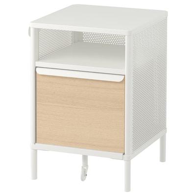 BEKANT Storage unit with smart lock, mesh white, 41x61 cm
