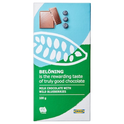 BELÖNING Milk chocolate tablet, blueberries UTZ certified, 100 g