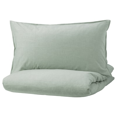 BERGPALM Duvet cover and 2 pillowcases, green/stripe, 200x230/50x80 cm