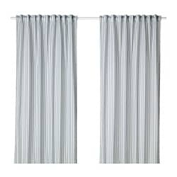 BERGPION curtains, 1 pair, blue/white