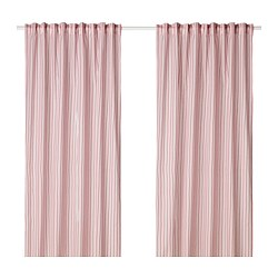 BERGPION curtains, 1 pair, red/white white/red