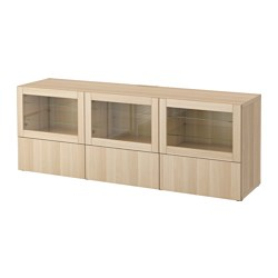 BESTÅ TV bench with doors and drawers, Lappviken, Sindvik white stained oak eff clear glass