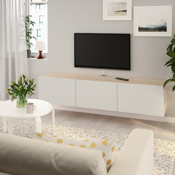 Tv Meubel Cool.Besta Tv Bench With Doors White Stained Oak Effect Lappviken