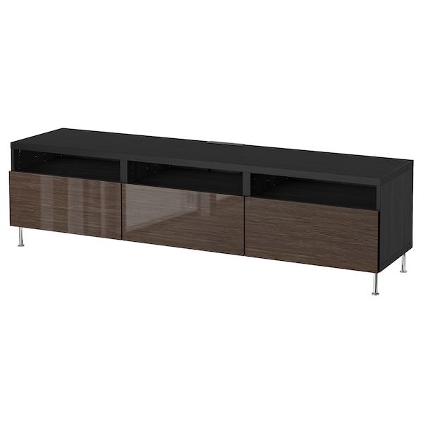 Tv Meubel Cool.Besta Tv Bench With Drawers Black Brown Selsviken Stallarp High