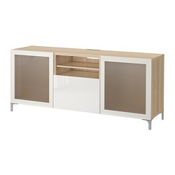BESTÅ TV bench with drawers, white stained oak effect, Selsviken high-gloss/white frosted glass