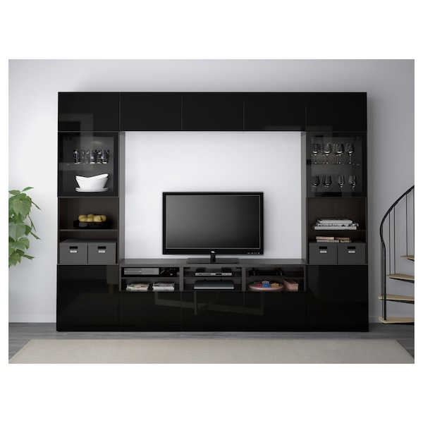 BESTÅ TV storage combination/glass doors, black-brown/Selsviken high-gloss/black clear glass, 300x40x230 cm