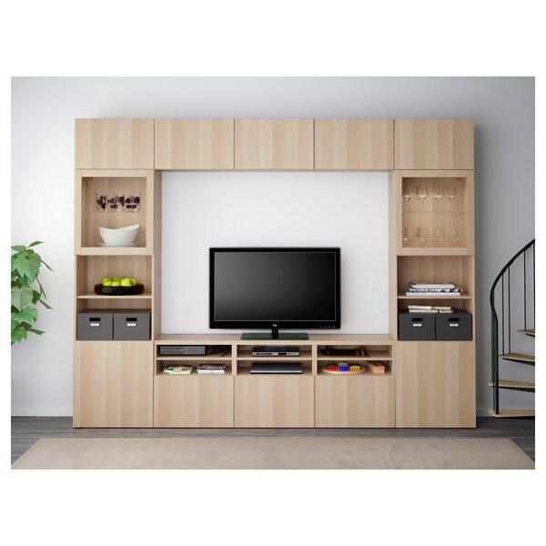 BESTÅ TV storage combination/glass doors, Lappviken/Sindvik white stained oak eff clear glass, 300x40x230 cm