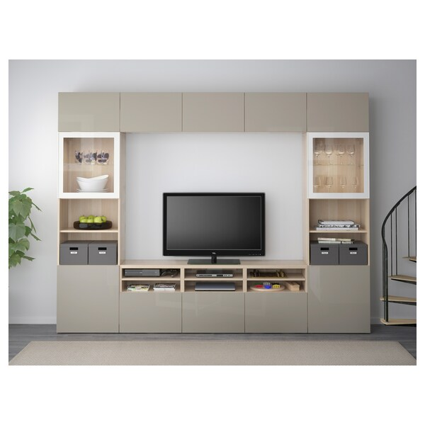 BESTÅ TV storage combination/glass doors, white stained oak effect/Selsviken high-gloss/beige clear glass, 300x40x230 cm