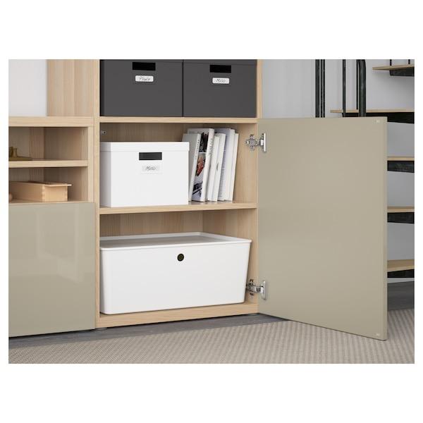 BESTÅ TV storage combination/glass doors, white stained oak effect/Selsviken high-gloss/beige frosted glass, 300x40x230 cm