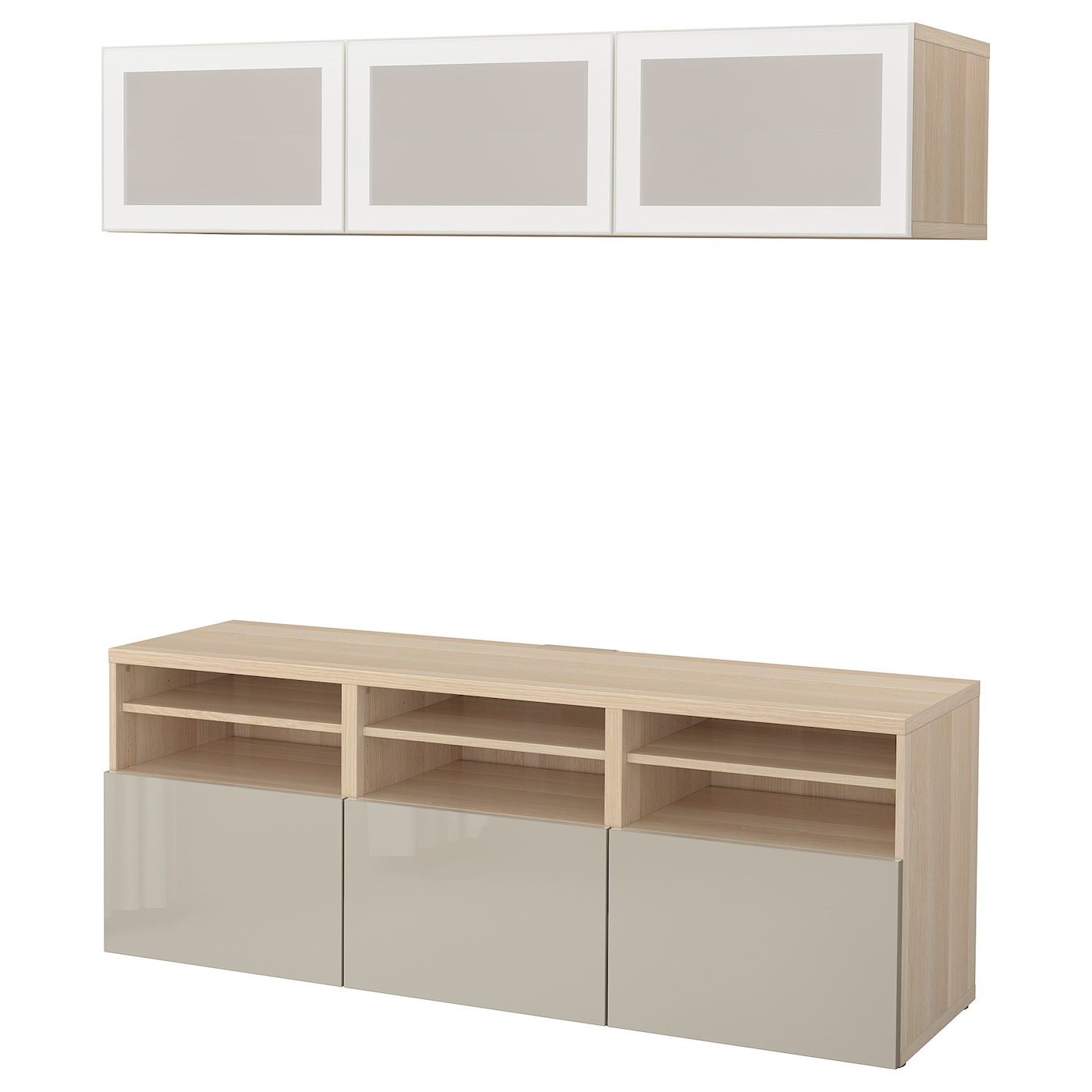 Picture of: Besta Tv Storage Combination Glass Doors White Stained Oak Effect Selsviken High Gloss Beige Frosted Glass Ikea