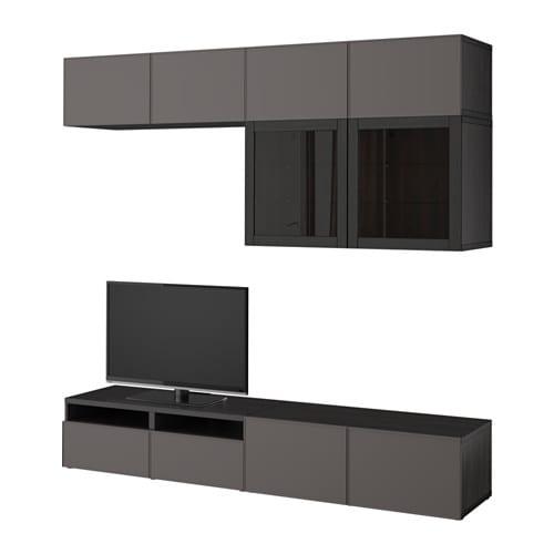 BESTÅ TV Storage Combination/glass Doors, Black Brown Grundsviken, Dark  Grey Clear
