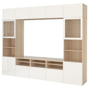 Colour: White stained oak effect/selsviken high-gloss/white clear glass.