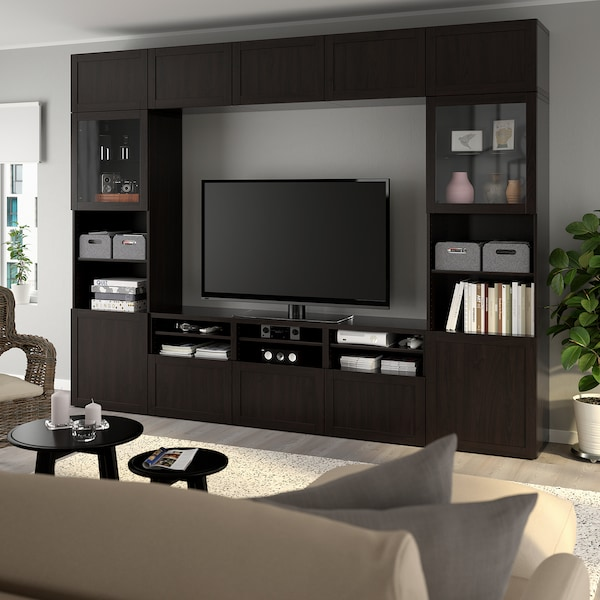 BESTÅ TV storage combination/glass doors Hanviken black-brown clear glass 300 cm 40 cm 230 cm