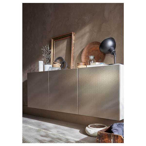 BESTÅ Wall-mounted cabinet combination, white/Riksviken light bronze effect, 180x42x64 cm