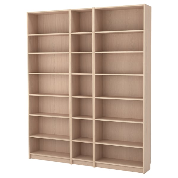 BILLY Bookcase w height extension units, white stained oak veneer, 200x28x237 cm