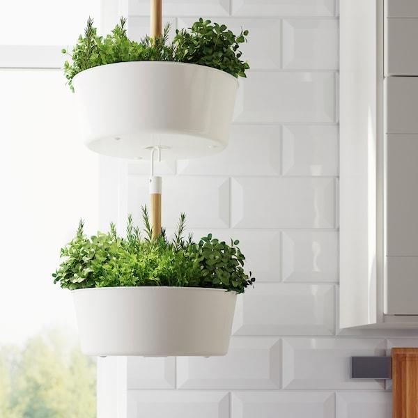 BITTERGURKA Hanging planter, white