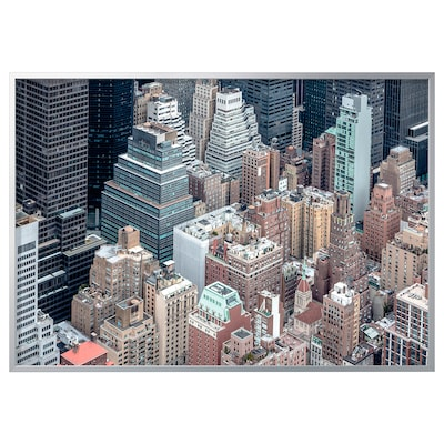 BJÖRKSTA Picture with frame, New York from above/aluminium-colour, 200x140 cm