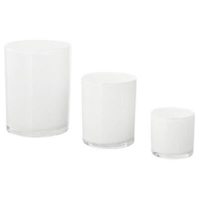 BLÄNDANDE candle holder, set of 3 white