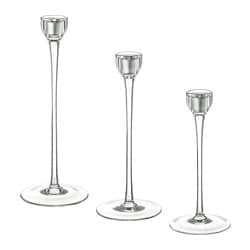 BLOMSTER candlestick, set of 3, clear glass