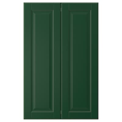 BODBYN 2-p door f corner base cabinet set, dark green, 25x80 cm
