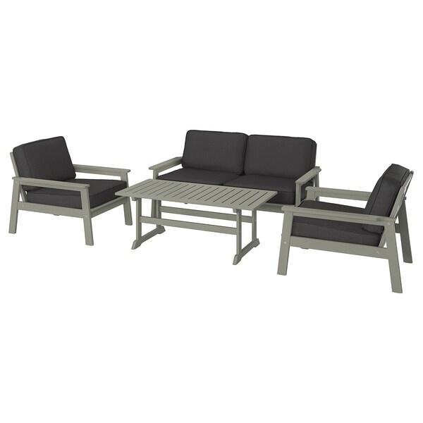 BONDHOLMEN 4-seat conversation set, outdoor, grey stained/Järpön/Duvholmen anthracite
