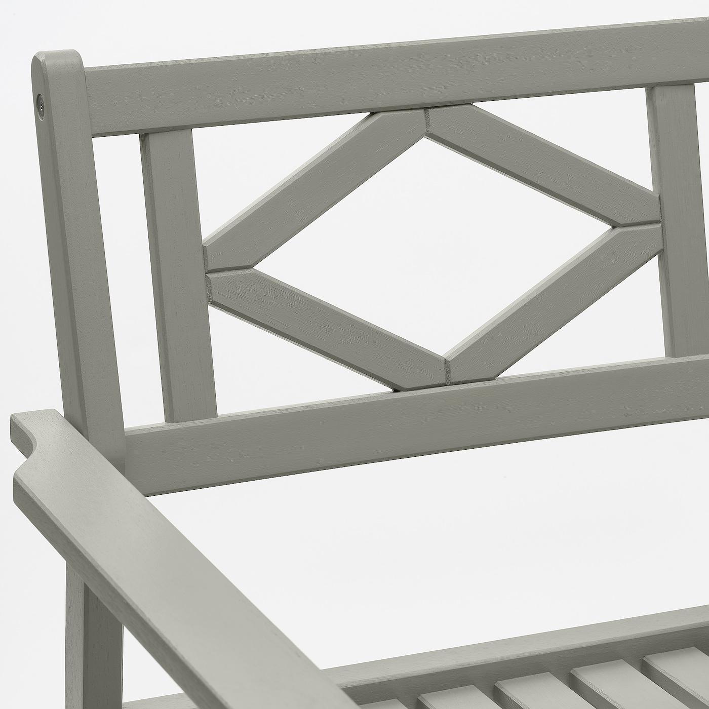 BONDHOLMEN Table+2 chairs w armrests, outdoor, grey stained/Järpön/Duvholmen anthracite