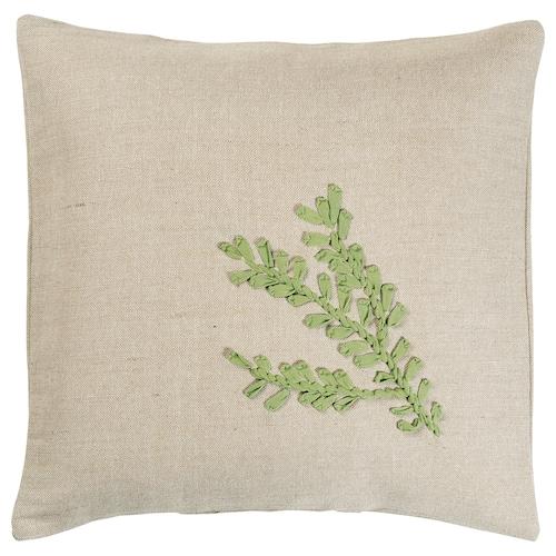 BOTANISK cushion cover beige leaf/green handmade 50 cm 50 cm