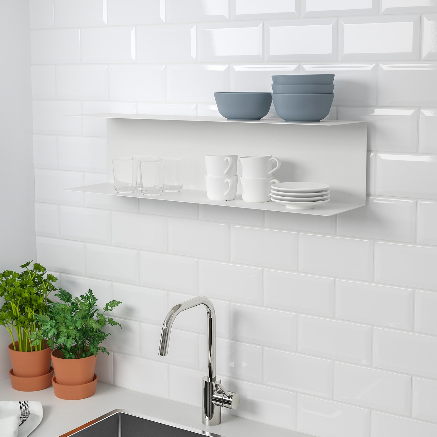 Wall To Wall Shelves botkyrka wall shelf - white 80x20 cm