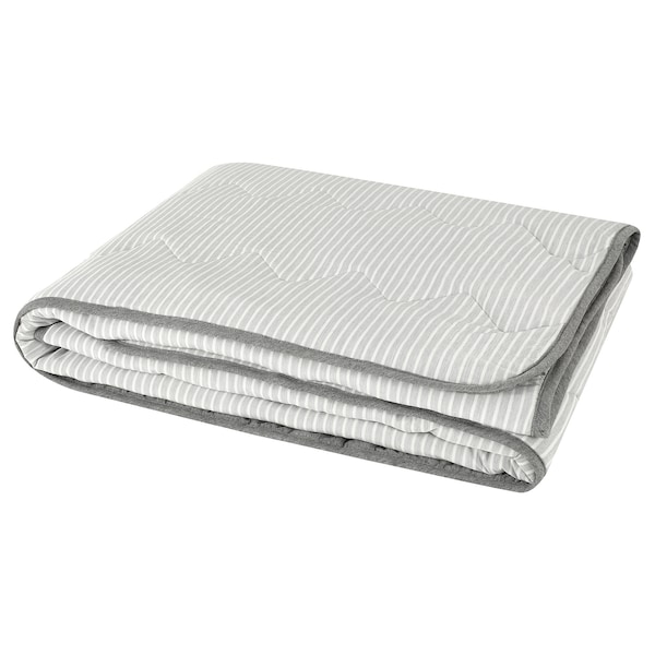 BRANDLILJA Duvet, cool, grey/stripe, 150x200 cm