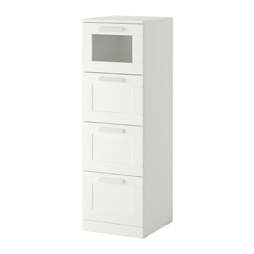 BRIMNES Chest of 4 drawers white frosted glass IKEA