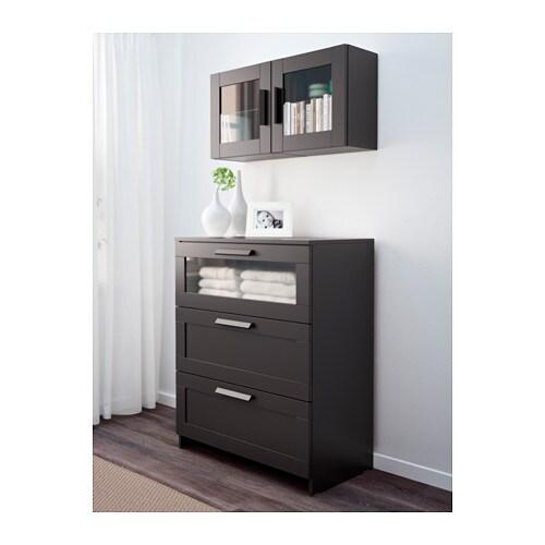 BRIMNES Wall cabinet with glass door - black - IKEA