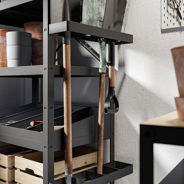 BROR Shelving unit with shelves/rails, black, 85x55x190 cm